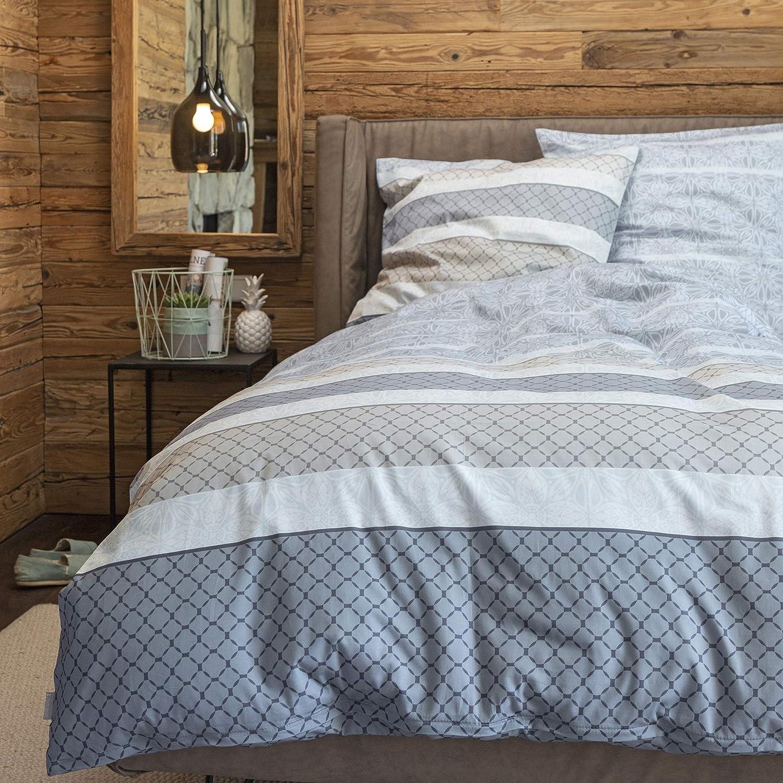 Zeitgeist Bettwäsche 135x200cm, hochwertiger hochwertiger hochwertiger Mako-Satin, 100% Baumwolle, grau beige, 2 teiliges Set aus Deckenbezug 135x200 und Kissenhülle 80x80, Reißverschluss B07G5PWL8C 0fe1de