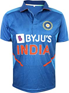 KD Cricket India Jersey Half Sleeve Cricket Supporter T-Shirt New BYJU'S Team Uniform Polyster Fit Material 2020-21 Kids to Adults