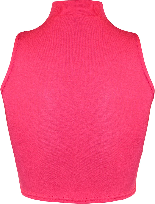 Damen Rollkragen Cropped Kurz Schmucklos /Ärmellos Unterhemd Top Gr/ö/ße 36-42 WearAll 13 Farben
