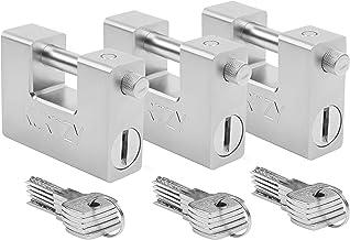 Kurtzy Zware Kwaliteit 1Kg Hangsloten met 15 Sleutels (3pak) – Gehard Solide Stalen Monoblok Slot – 12mm Dikke Pin – Besch...