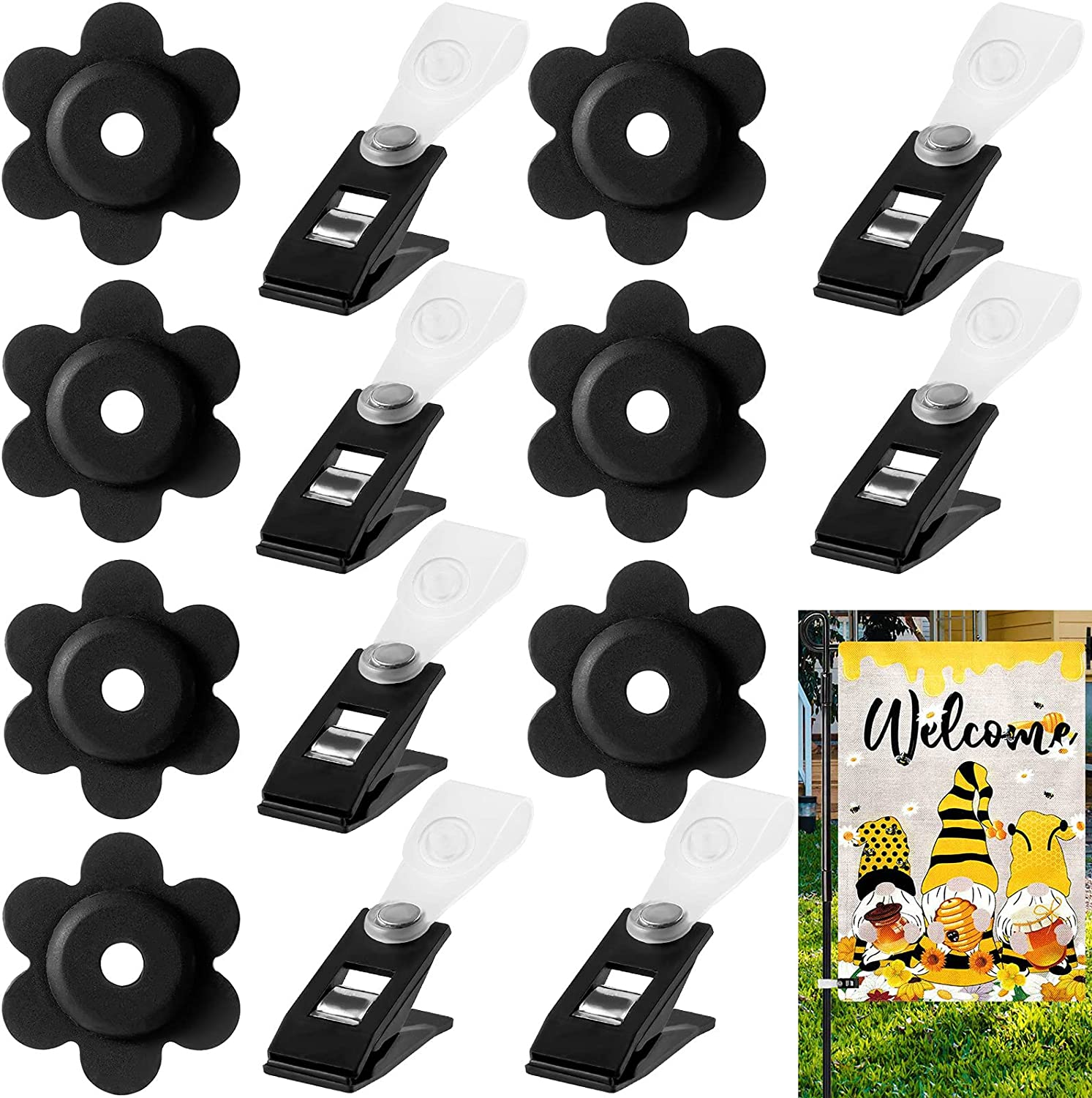 Garden Flag Stoppers - Anti Wind Garden Flag Clips 14 Pack Flag Rubber Stoppers and Clips Flower Yard Stoppers with Lawn Plastic Clips Flag Stops Accessories Hardware for Flag Poles Stand