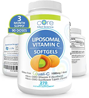 Core Med Liposomal Vitamin C Softgels 1000mg/dose - Quali®-C Vitamin C (Scotland) - USA Made - Immunity Support, Collagen ...