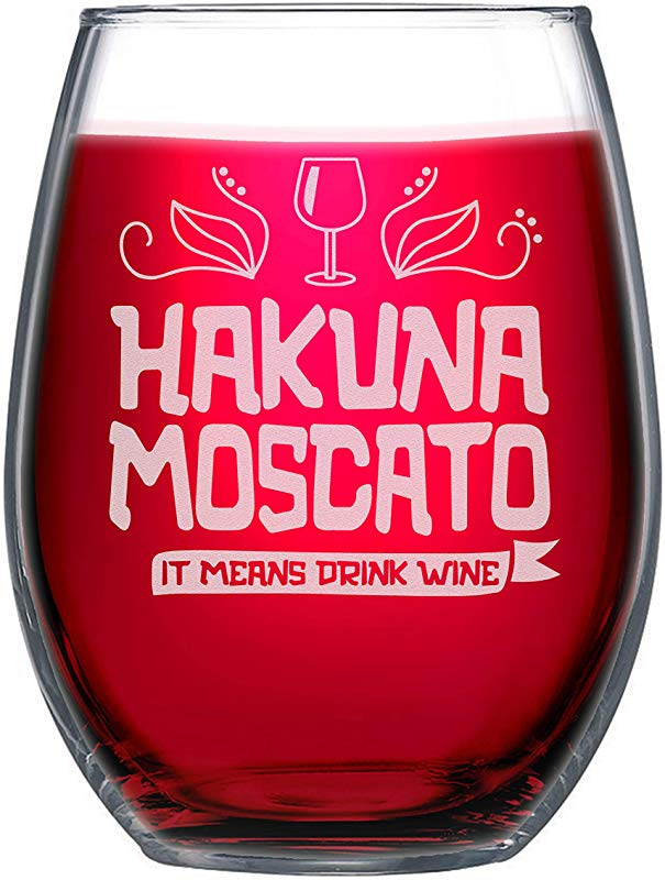 NeeNoNex Hakuna Moscato It Means Drink Wine Stemless Wine Glass Funny Wine Lover Gift
