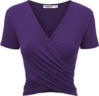Women's Premium Short/Long Sleeve Deep V Neck Slim fit Cross Wrap Crop top Shirt-Made in USA