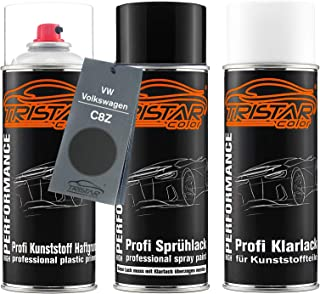 TRISTARcolor Autolack Spraydosen Set für Kunststoff Stoßstange für VW/Volkswagen C8Z Mocca Brown Perl/Mocha Brown Perl Haftgrund Basislack Klarlack mit Weichmacher Sprühdose