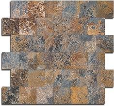 Yipscazo Peel and Stick Tile Backsplash, PVC Rusty Slate Backsplash Stone Tile for Kitchen Peel and Stick (12