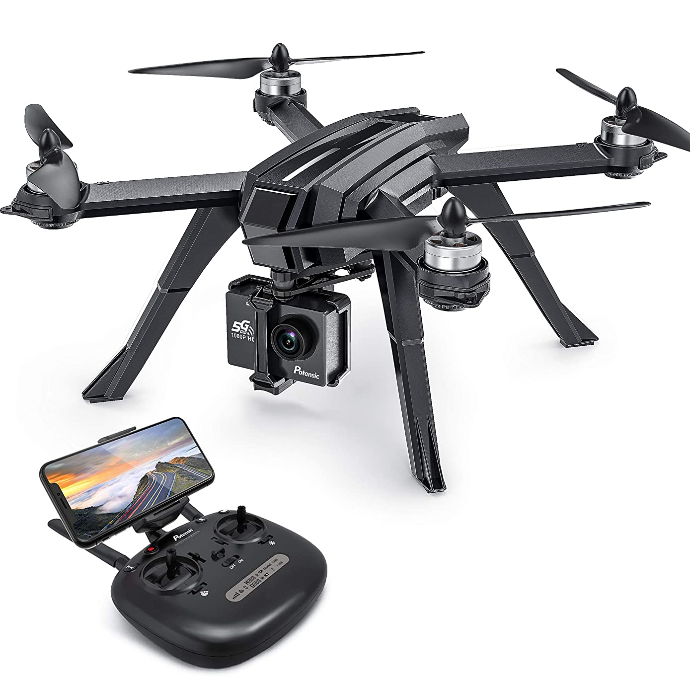 Drone GPS,Auto Return Home with 1080P HD Camera 5G FPV Live Video, Potensic D85 RC Quadcopter for Adults,GPS Follow Me,Brushless Altitude Hold,Sport Camera