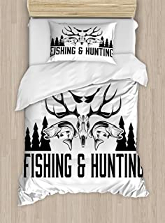 Ambesonne Hunting Duvet Cover Set, Hunting and Fishing in Vintage Emblem Design Antler Horns Mallard Pine Tree, Decorative 2 Piece Bedding Set with 1 Pillow Sham, Twin Size, White Black