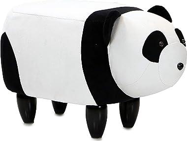 "Critter Sitters Black/White 14"" Seat Height Animal Panda Bear-Super Soft Plush-Durable Legs-Furniture for Nursery, Bedroom, Playroom & Living Room-Décor Ottoman"