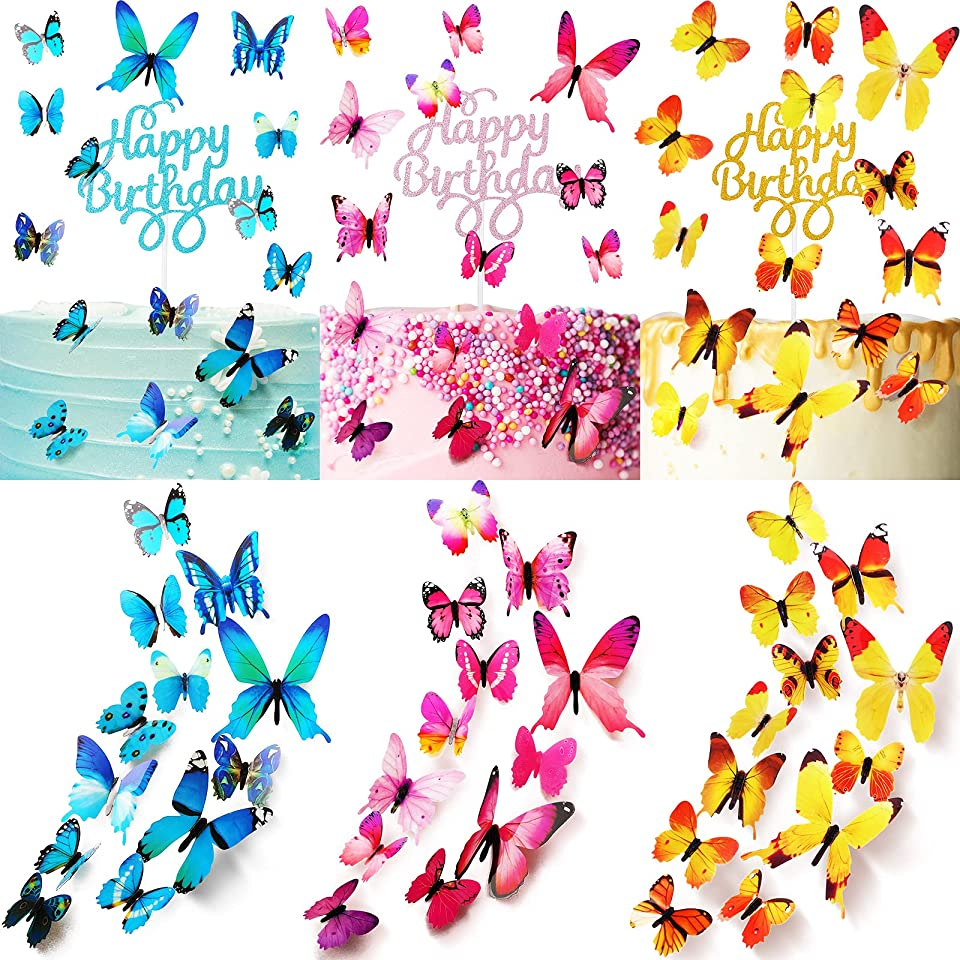 138 Pieces Glitter Cake Toppers Include 30 Pieces Happy Birthday Cake Toppers and 108 Pieces Butterfly Cupcake Toppers Dessert Toppers for Birthday Wedding Party Anniversary Celebration (Multicolor)