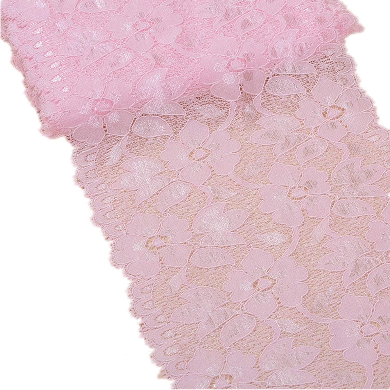 MSCFTFB 5 Yards Width 6.3 Inch Stretch Lace Trim Fabric Elastic Lace Flowers Embroidered Ribbon for Garment Craft Embellishment Wedding Baby Shower Table Decorations (Pink)