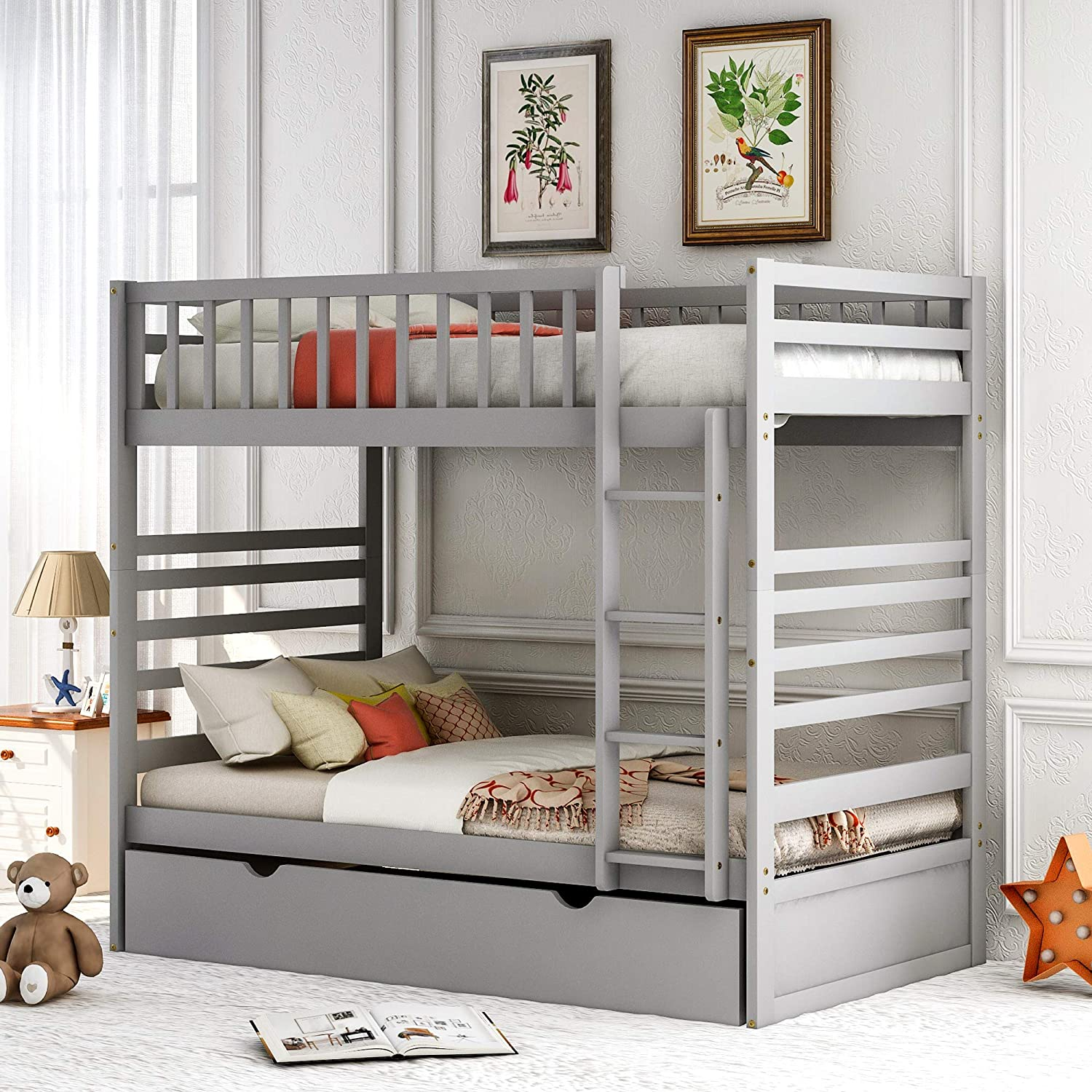 Buy Twin Over Twin Bunk Beds For Kids Bunk Bed With Trundle Wooden Twin Size Trundle Bed Frame With Safety Rail And Ladder Gray Online In Turkey B08fsz1ybs