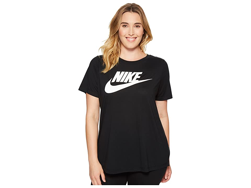 Nike Sportswear Essential T-Shirt (Size 1X-3X) (Black/White) Women