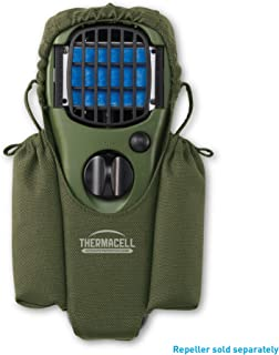 Thermacell Holster for MR150 Portable Mosquito Repeller; Olive Green Nylon Composition with Dual Refill Storage Pockets; Elastic Closures and 360-Degree Rotating Clip Attaches to Packs, Belts and More