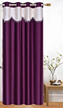 Honey Traders Cream-Wine Color Plain Eyelet Lace Door Curtains of 1 Piece - 7ft