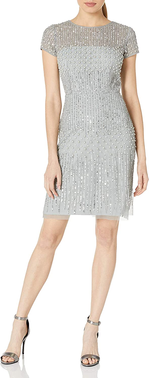Adrianna Papell Women's Short Beaded Cocktail Dress with Short Sleeves