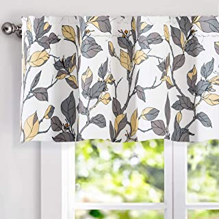 DriftAway Ryan Sketch Flower Floral Branch Leaves Lined Thermal Insulated Energy Saving Window Curtain Valance Rod Pocket 2 Layers 52 Inch by 18 Inch Plus 2 Inch Header Yellow and Gray 1 Pack