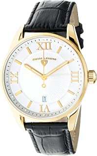 Men's Belleza Analog Swiss Quartz Watch White Dial and Gold Stainless Steel Case with Black Leather Strap 22012-YG-02-BLK