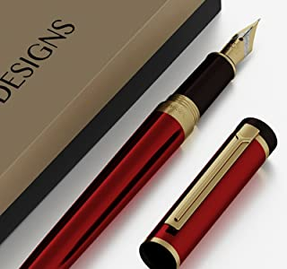DRYDEN Luxury Fountain Pen [DANGEROUS RED WITH GIFT BOX] - BEST Fountain Pens Gift Set - Smooth Elegant Writing - Calligraphy - FREE Ink Refill Converter