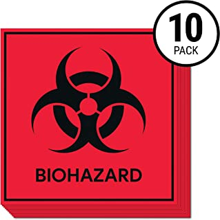 Biohazard Stickers Signs (Pack of 10)   Decals for Labs, Hospitals, and Industrial Use