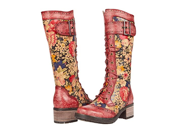 Vintage Boots, Retro Boots LArtiste by Spring Step Kisha-Flora Red Multi Womens Shoes $189.95 AT vintagedancer.com