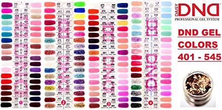 Daisy DND Collection Nail Color Swatches 1-4, Gel Polish Colors (with Bonus Side Glitter) Colour Swatch Palette Display Tools 401-545 Color Chart Sheet Sample (Chart 1-4)