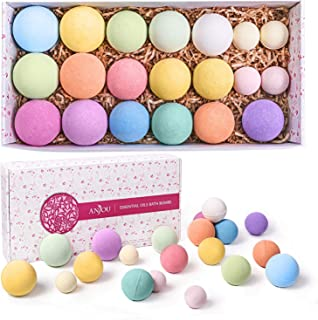Sponsored Ad - Bath Bombs Gift Set, Anjou 20 Pack Natural Essential Oils Spa Bath Fizzies for Moisturizing Dry Skin, Chris...