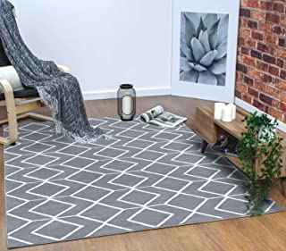 Antep Rugs Kashan King Collection Trellis Polypropylene Indoor Area Rug (Grey/Cream 5' X 7')