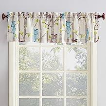 "No. 918 Hoot Owl Print Kitchen Curtain Valance, 56"" x 14"", Mocha Brown"