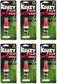 Krazy Glue KG92548R Instant Krazy Glue 0.18-Ounce All Purpose Brush - Pack of 6