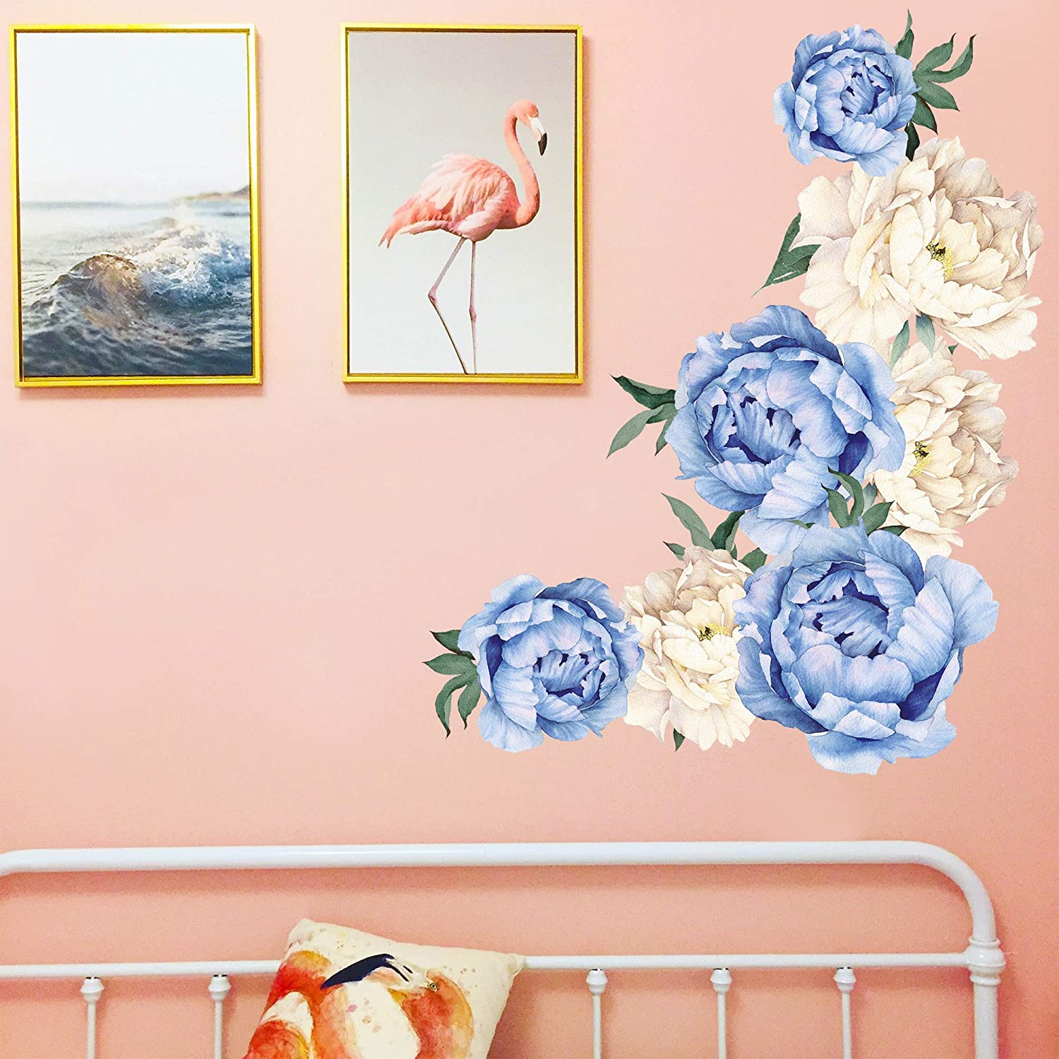 RW-C16 Peony Flowers Wall Decals White Blue Flowers Wall Stickers DIY 3D Removable Floral Rose Wall Art Murals for Kids Baby Girls Bedroom Living Room Nursery Kitchen Office Room Decoration Blue