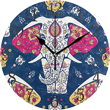 ALAZA Stylish Ethnic Wall Clock, Stylish Slient Wall Clock,Mandala Indian Elephant Navy Blue Clock,9.5 Inch Battery Operated