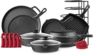 """Cuisinel Cast Iron Cookware 11-Pc Set - 8"""" Skillet + 10""""+12"""" Skillets with Glass Lid + Grill Pan + Multi-Cooker/Dutch Oven..."""