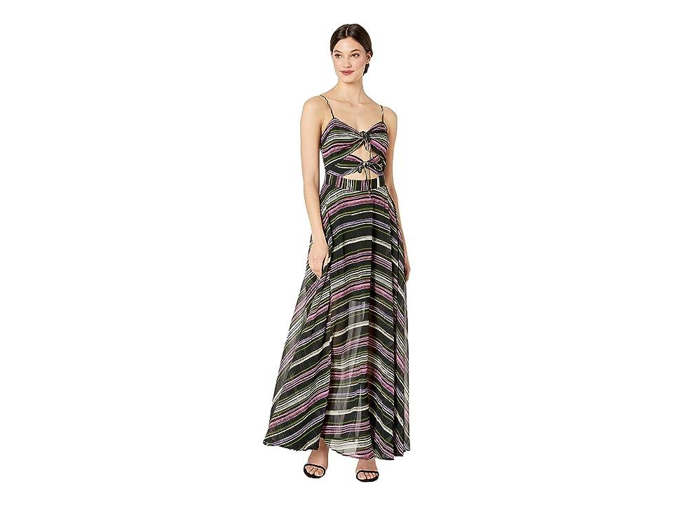 WAYF Chelsea Tie Knot Maxi Dress (Black Paint Stroke Stripe) Women