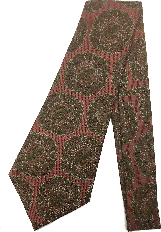 Boho Tapestry Vintage Tie - Jacquard Weave Wide Kipper Necktie Khaki