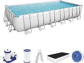 Bestway Power Steel Opbouwzwembad complete set met filterpomp 732 x 366 x 132 cm, grijs, vierkant