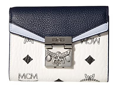 MCM Patricia Visetos Leather Block Flap Wallet/Trifold Small (Mood Indigo) Bags