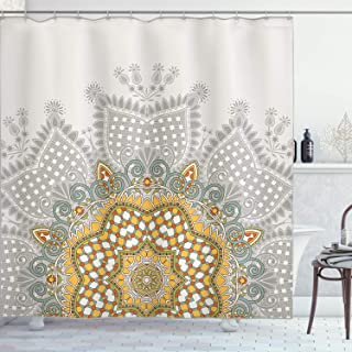 Ambesonne Antique Decor Collection, Ornamental Floral Circular Embellished Kaleidoscope Design with Geometric Swirling Patterns, Polyester Fabric Bathroom Shower Curtain, 75 Inches Long, Multi