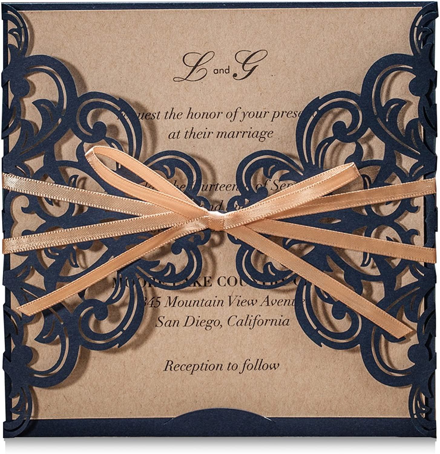 Wishmade Navy bluee Rustic Square Laser Cut Wedding Invitations Cards with Bow Lace Sleeve Cards for Engagement Baby Shower Birthday Quinceanera (pack of 50pcs)