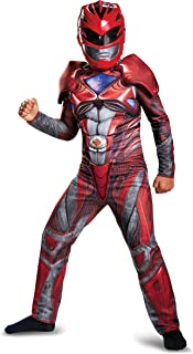 Disguise Ranger Movie Classic Muscle Costume, Red, Large (10-12)