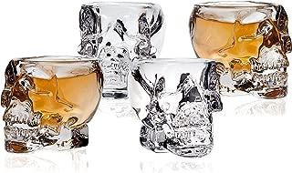 Klikel Skull Head 3D Clear Crystal 2 Oz. Whiskey Liquor Vodka Shot Glasses Shooters Barware, Set of 4
