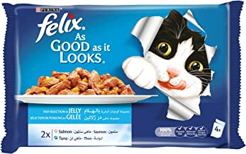 Purina Felix As Good as it Looks Salmon & Tuna Wet Cat Food Pouch 100g (4 Pouches)