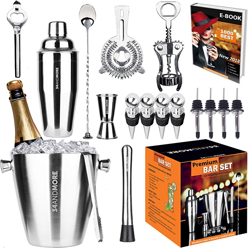 Bar Set 17 Pieces Jumbo Bartender Kit Premium Cocktail Set Mixology Kit For Bar And Home All In One Cocktail Shaker Set Bartender Mixology Barware Set For Men And Women Bar Tools Martini Kit