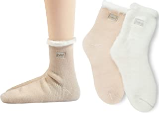 2 Pairs Womens Warm Thermals Socks Wool Pile Lined Insulated Thick Heat Socks Winter SWEET Embroidery