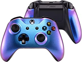 eXtremeRate® Purple and Blue Chameleon Top Shell Front Housing Faceplate Replacement Parts with Side Rails Panel for Xbox ...
