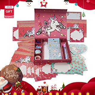 Qaxlry Unicorn-Kids-Stationary Set,50 in 1 Letter Writing Set for Girls,Has Everything A Young Writer Needs to Create Pers...