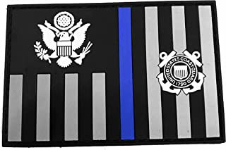 Subdued Thin Blue Line Coast Guard Ensign Flag PVC Patch