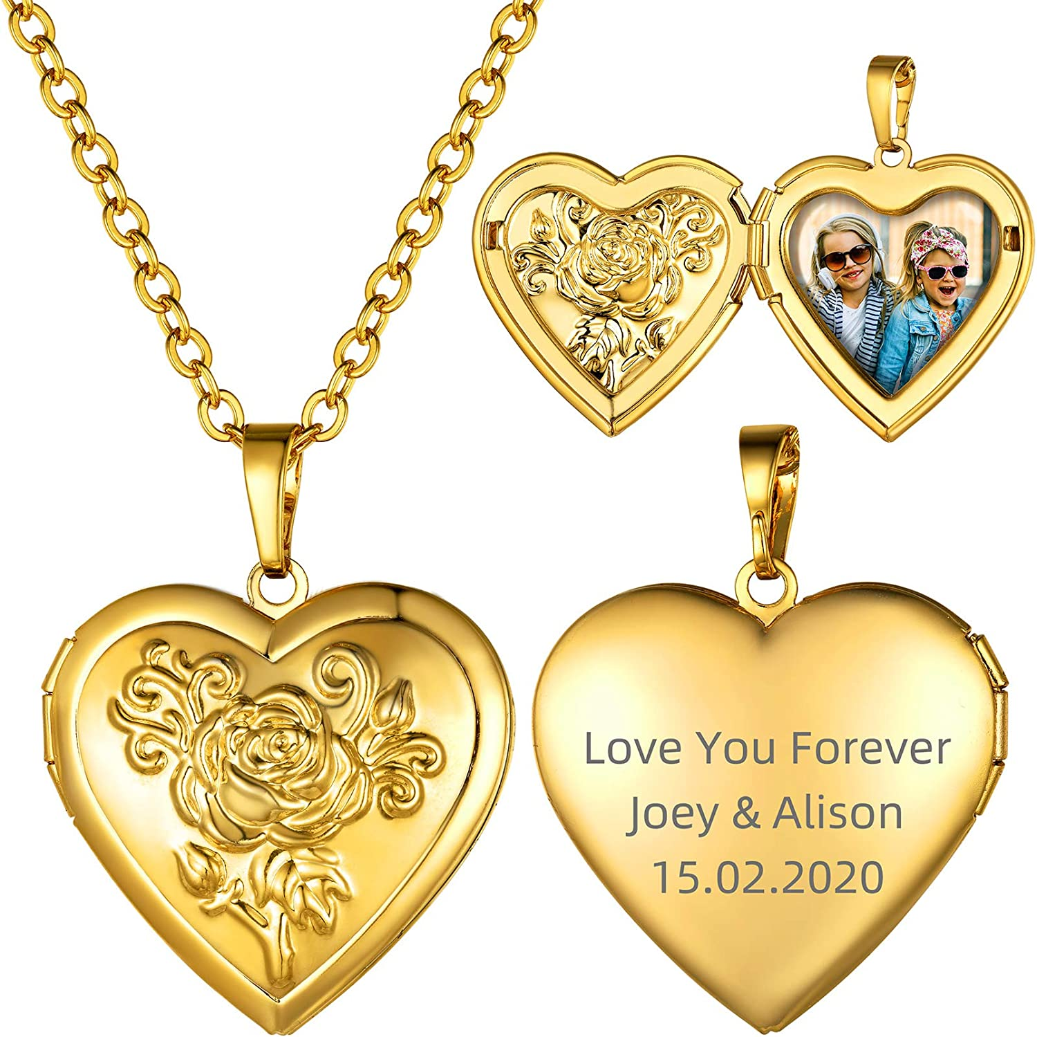 GOLDCHIC JEWELRY Heart Locket Necklace 18K Plated Platinum Easy-to-use Gold Sale special price