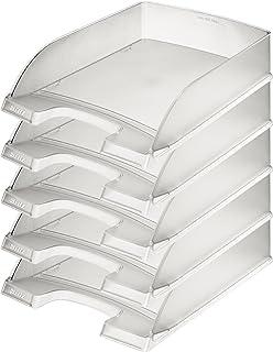 Leitz 52270003 Corbeille à courrier Format A4 Polystyrène Transparent Givré, Lot de 5