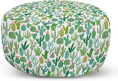 Ambesonne Cactus Ottoman Pouf, Continuous Cacti Plants Mexican Theme Sketch Illustration on Plain Backdrop, Decorative Soft F